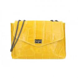 Kožená kabelka na rameno MI15 žltá Made in Italy Žltá