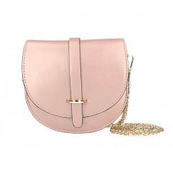 Kožená kabelka na rameno MI198 Made in Italy ružová metalíza, Ružová