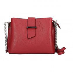 Kožená kabelka na rameno MI211 červená Made in Italy, Červená