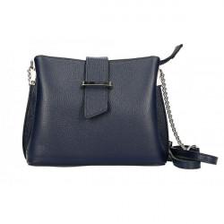 Kožená kabelka na rameno MI211 tmavomodrá Made in Italy, Modrá