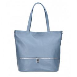 Kožená kabelka na rameno MI31 blankytne modrá MADE IN ITALY Blankytna modrá