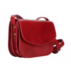 Kožená kabelka na rameno MI896 červená Made in Italy, Červená