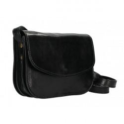 Kožená kabelka na rameno MI896 čierna Made in Italy, Čierna