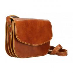 Kožená kabelka na rameno MI896 koňaková Made in Italy, Koňak