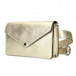 Kožená kabelka na rameno/na opasok 1002 zlatá Made in Italy, Zlatá