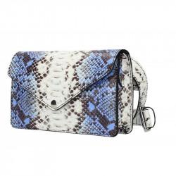 Kožená kabelka na rameno/na opasok MADE IN ITALY azurovo modrá, azurovo modrá
