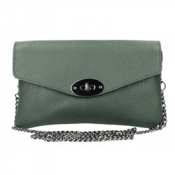 Kožená kabelka na rameno tmavozelená MADE IN ITALY, zelená