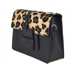 Kožená kabelka Pelliccia 497 leopard, Hnedá