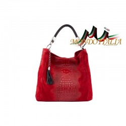 Kožená kabelka potlač krokodíl 145 červená MADE IN ITALY