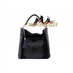 Kožená kabelka potlač krokodíl 145 čierna MADE IN ITALY