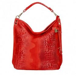 Kožená kabelka potlač krokodýl 1311 červená, Červená
