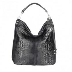 Kožená kabelka potlač krokodýl 1311 čierna, Čierna