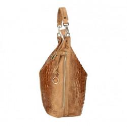 Kožená kabelka potlač krokodýl 1311 koňaková, Koňak #3