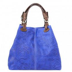 Kožená kabelka potlač pytón 35 azurovo modrá, Modrá