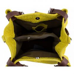 Kožená kabelka potlač pytón 35 čierna, Čierna