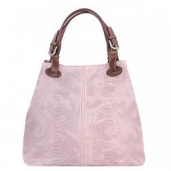 Kožená kabelka potlač pytón 35 ružová, Ružová