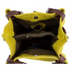 Kožená kabelka potlač pytón 35 tmavozelená Zelená