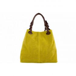 Kožená kabelka potlač pytón 35 žltá, Žltá