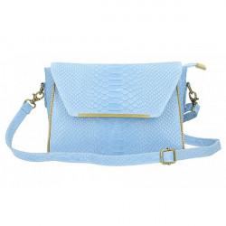 Kožená kabelka potlač pytón 528 nebesky modrá Made in Italy Nebesky modrá