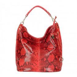 Kožená kabelka s hadím motívom 5324 červená, Červená