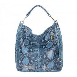 Kožená kabelka s hadím motívom 5324 jeans, Modrá