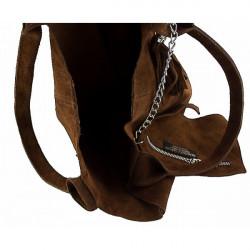 Kožená kabelka v úprave semiš 804 šedohnedá Šedohnedá #1