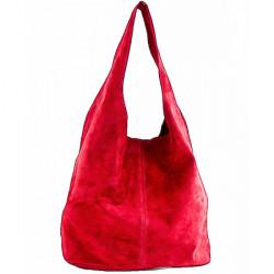 Kožená kabelka v úprave semiš 804A červená, Červená