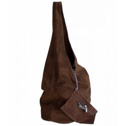 Kožená kabelka v úprave semiš 804A červená, Červená #2