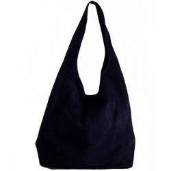 Kožená kabelka v úprave semiš 804A modrá, Modrá