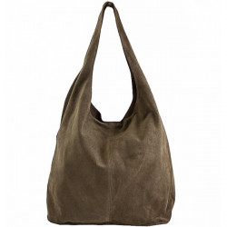 Kožená kabelka v úprave semiš 804A tmavá šedohnedá Šedohnedá