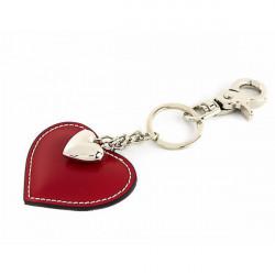 Kožená kľúčenka srdce červená, Červená