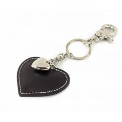 Kožená kľúčenka srdce čierna, Čierna