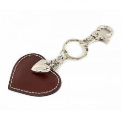 Kožená kľúčenka srdce hnedá, Hnedá