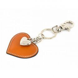 Kožená kľúčenka srdce koňaková Made in Italy, Koňak