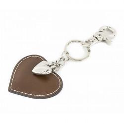 Kožená kľúčenka srdce šedohnedá, Šedohnedá