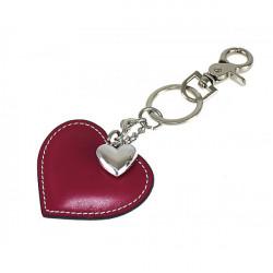 Kožená kľúčenka srdce tmavočervená, Červená
