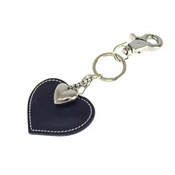 Kožená kľúčenka srdce tmavomodrá, Modrá