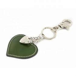 Kožená kľúčenka srdce zelená, Zelená