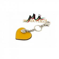 Kožená kľúčenka v tvare srdca 1253 žltá MADE IN ITALY