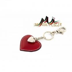 Kožená kľúčenka v tvare srdca červená 1253 MADE IN