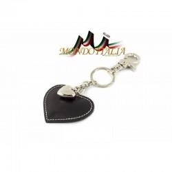 Kožená kľúčenka v tvare srdca čierna 1253 MADE IN