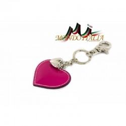 Kožená kľúčenka v tvare srdca fuxia 1253 MADE IN ITALY