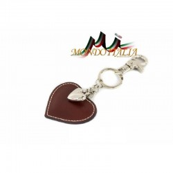 Kožená kľúčenka v tvare srdca hnedá 1253 MADE IN ITALY