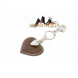 Kožená kľúčenka v tvare srdca šedohnedá 1253 MADE IN ITALY 1253