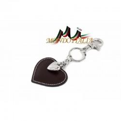Kožená kľúčenka v tvare srdca tmavohnedá 1253 MADE