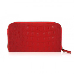 Kožená peňaženka na zips kroko štýl  820 červená, Červená
