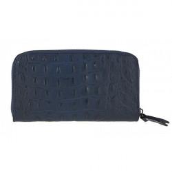 Kožená peňaženka na zips kroko štýl  820 modrá, Modrá