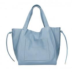 Kožená shopper kabelka 1112 blankytna modrá Made in Italy Blankytna modrá