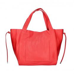 Kožená shopper kabelka 1112 červená Made in Italy Červená