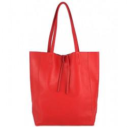 Kožená shopper kabelka 396 červená, Červená